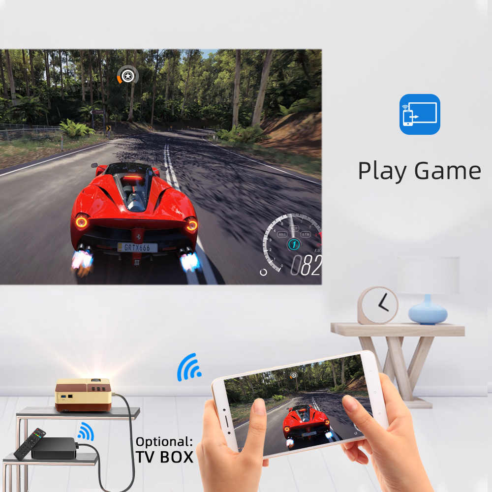 BYINTEK K7 Proyector Mini HD (opcional Android TV caja) 150 pulgadas de Teatro en Casa portátil Proyector de LED para teléfono 1080P 3D