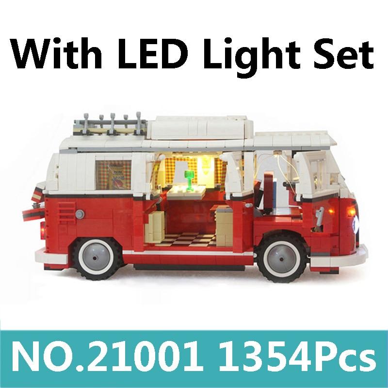 King Bricks 21001 With Led Light Set 1354pcs Creator T1 Camper Van Building Blocks Set 10220 Lepinblocks Toys For Children Gift-in Blocks from Toys & Hobbies    1