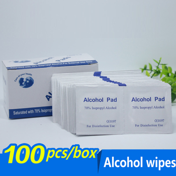 100pcs / lot Swap Prep Pad Wet Wipe Alcohol Wipe for Antiseptic Clean Skin Care Jewelry Cell Phone Clean