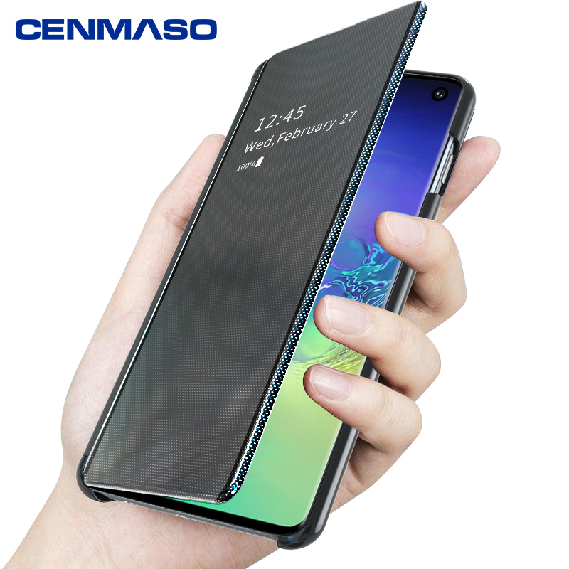 For <font><b>Samsung</b></font> <font><b>S10</b></font> Plus <font><b>Case</b></font> Luxury Original Smart Window <font><b>Mirror</b></font> <font><b>Flip</b></font> Cover for <font><b>Samsung</b></font> galaxy S8 S9 <font><b>S10</b></font> Plus Note 8 9 10 plus <font><b>Case</b></font> image