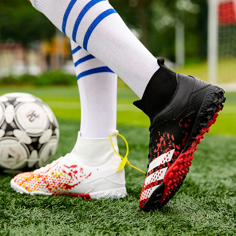 High Ankle Sport Sneakers Mens Indoor Kids Football Boots Turf Soccer Shoes Cleats Training De Futbol Socks Eur Size 35-45 1