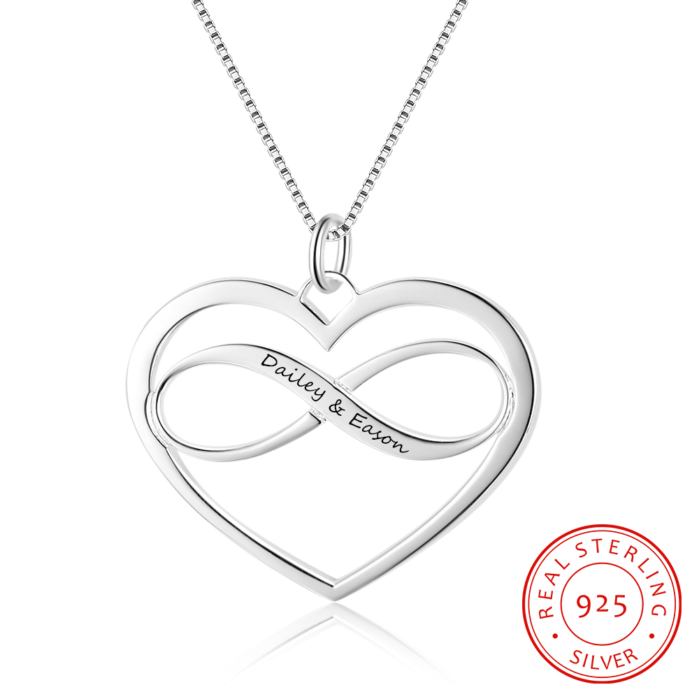 925 Sterling Silver Custom Infinity Heart Pendant Necklace Personalized Engraved Name Necklace Women Jewelry Gift
