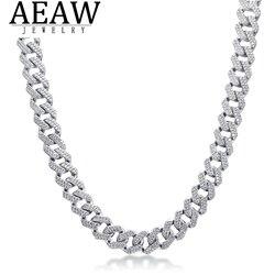 AEAW 18 pouces 925 en argent Sterling réglage glacé Moissanite diamant Hip Hop lien cubain chaîne Miami collier bijoux pour hommes