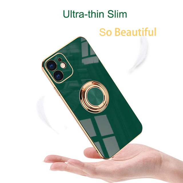 Luxury Plating Silicone Case For iPhone 12 11 Pro Xs Max Mini SE X XR 7 8 Plus Plain Metal Ring Holder Stand Soft Phone Cover 3