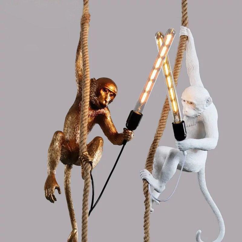 Led resina macaco luz pingente preto branco ouro moderno corda de cânhamo lâmpadas para sala estar arte sala estudo sala luzes led lustre - 3