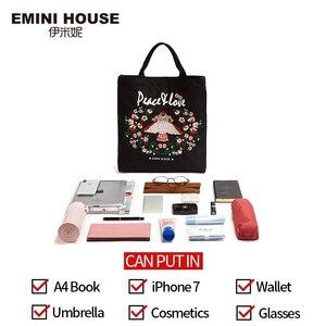 Image 4 - EMINI Bolsa de compra plegable de gran capacidad para mujer, bolso de mano bordado, cruzado, espacioso