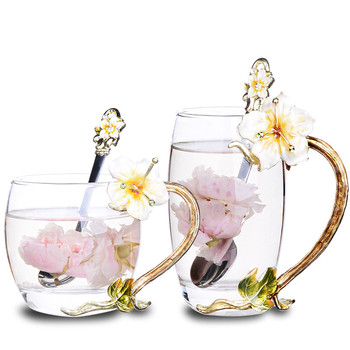 Lead-free Glass Water Cup Flowers Metal Handle Creative European Style Home Party Fruit Juice Drink Heat-resistant Crystal Cup