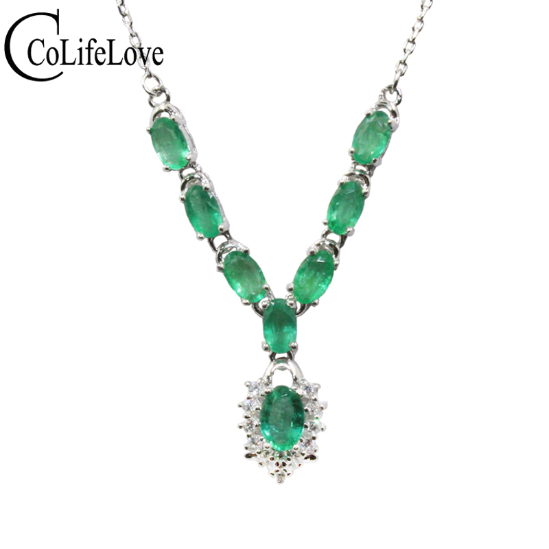 Fashion emerald necklace for evening party 100% natural SI grade emerald silver necklace 925 silver emerald wedding jewelry