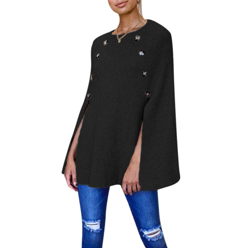 Knitted Female Pullover Sweatshirts Women Hoodies Sweatshirt Loose Button Pullover Long Sleeve Tunic Tops