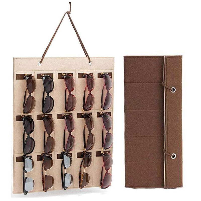 2 Colors New Glasses Organizer Storage Wall Hanging Bag Sunglasses Eyeglass Container