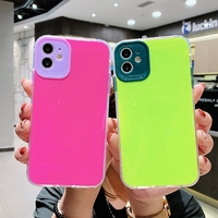 Funda de teléfono a prueba de golpes para móvil, carcasa sencilla a prueba de golpes, Color caramelo brillante, para iPhone 11 Pro Max XS X XR 7 8 Plus SE 2020