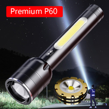 P60 Powerful Flashlight High Power Rechargeable LED 2400mAh USB Tactical Lamp Camping Lantern 18650 Battery Search Fishing Torch