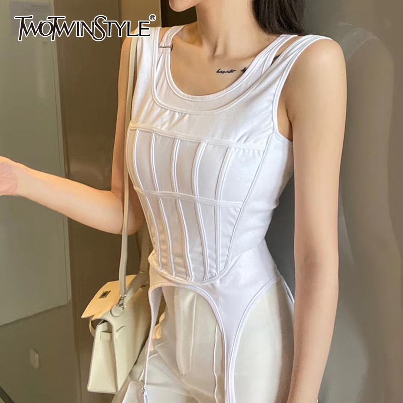 TWOTWINSTYLE Sexy Striped Women Two Piece Set O Neck Sleeveless Tunic Irregular Hem Suit For Female Clothes 2020 Summer Fashion