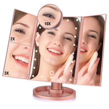 Vanity Mirror Collapsible 22 LED Touch Screen Makeup Mirror 1X 2X 3X 10X Magnifying Mirrors 3 Folding Desktop Adjustable Mirror desktop touch lighting up touch screen magnifiying 3 folding adjustable beauty mirror makeup with led light mirror