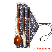 3pcs Cloth Bag Portable Tableware Wrapped With Thread Wooden Chopsticks Non-stick Spoon Fork Japanese Style(China)