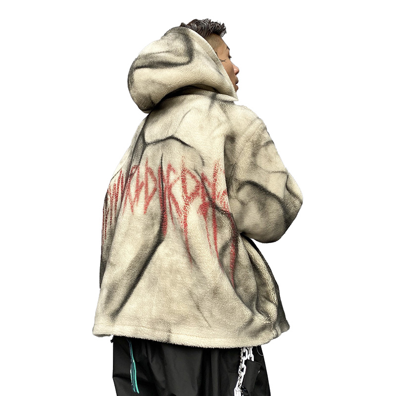 Seveyfan, Мужская Флисовая Куртка с капюшоном в стиле хип хоп, винтажная, с буквенным принтом, негабаритная, утолщенная, теплая куртка и пальто для мужчин, R3064
