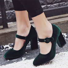 AGODOR Velvet Shoes Women Pumps High Heels Ladies Mary Jane Shoes Buckle Black Block Heel  2019 Fashion Footwear Big Size 33-43 women s velvet med heel comforable mary jane pumps brand designer round toe spring new female cute footwear shoes for women sale