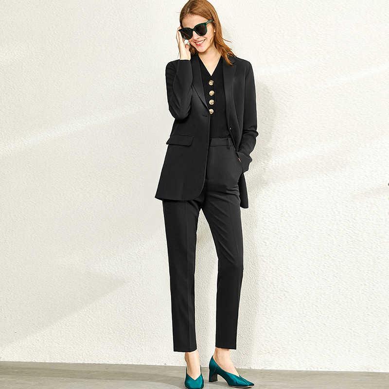 Amii minimalizm İlkbahar yaz moda elbise seti kadın yaka takım elbise ceket yüksek bel nedensel pantolon şifon şort 12020050