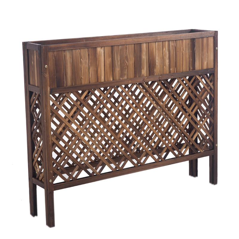 Wood Partition Outdoors Balcony Grid Flowerpot Frame Restaurant A Living Room Indoor Solid Wood Decorate Shelf