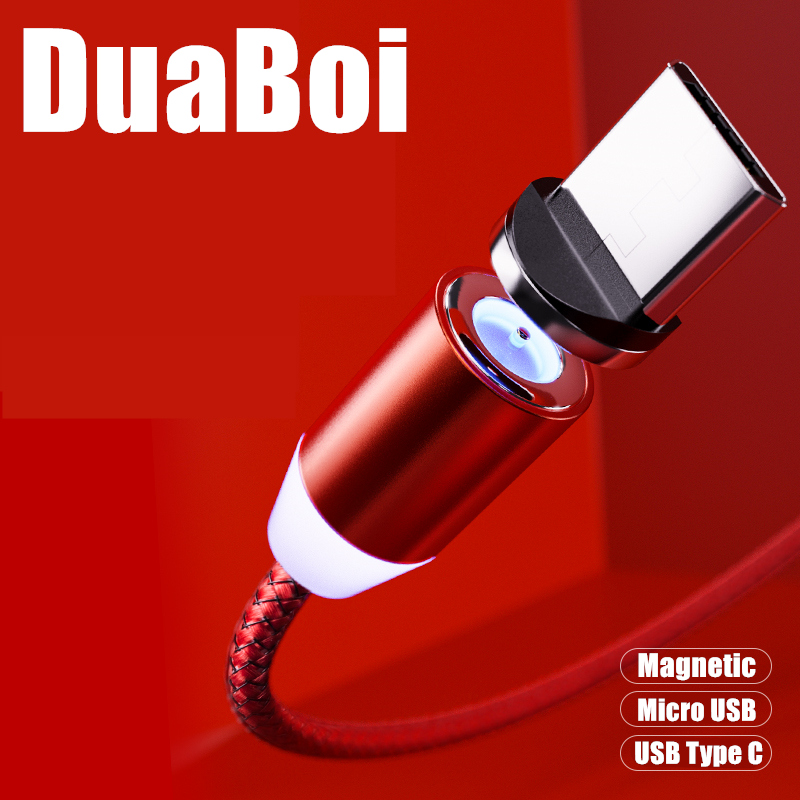 Светодиодный зарядный кабель, 1 м, 2 м, поворот на 360 градусов, для Sony Xperia 1 II L4 8 Ace, магнитное зарядное устройство Micro USB Type C для Samsung A21s A51 A71 A31