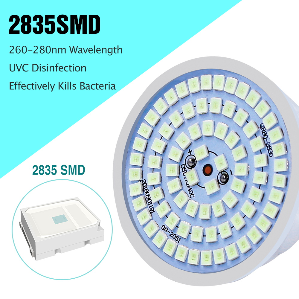 E27 UV Desinfection Lamp E14 LED Sterilizer Lamp B22 MR16 LED UVC Germicidal Bulb GU10 Ultraviolet Light 48 60 80leds