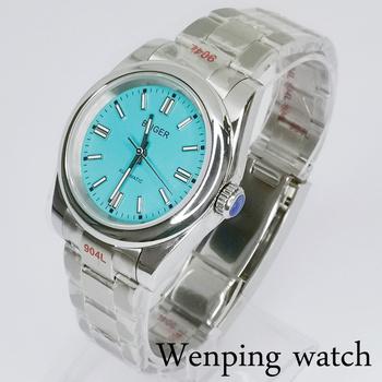 Bliger 36mm 39mm czarny niebieski biały wielu kolorów wybierania męskie zegarki zielony Luminous szafirowe szkło NH35 automatyczny zegarek tanie i dobre opinie 5Bar CN (pochodzenie) Zapięcie bransolety Moda casual Samoczynny naciąg 20cm STAINLESS STEEL Odporna na wstrząsy Odblaskowe