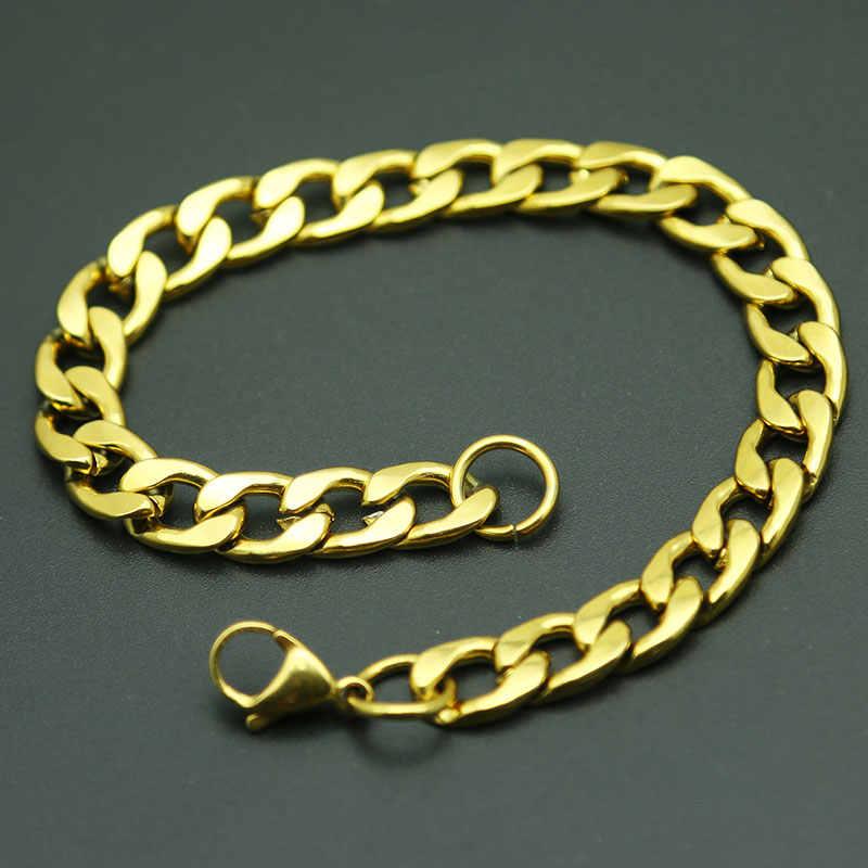 זהב איש לרסן קובני קישור שרשרת צמיד נירוסטה Mens נשים צמידי AMYA תכשיטי עבור גברים