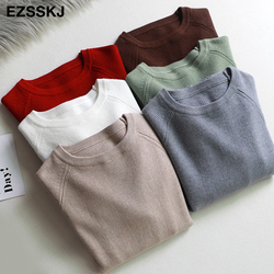 casual basic autumn winter thick Sweater Women long sleeve o-neck Soft Knit sweater Pullovers solid female  Jumper top 1