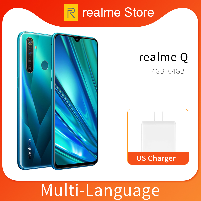 Realme Q 4GB 64GB 6.3'' Moblie Phone Snapdragon 712 AIE Octa Core 48MP Quad Camera Cellphone 20W Fast Charger