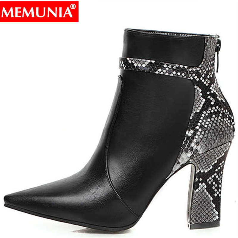 MEMUNIA 2020 New plus size 30-48 New fashion ankle boots zipper thick high heels autumn winter shos pointed toe women boots