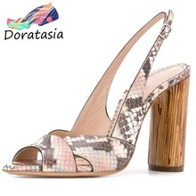 DORATASIA Sexy Lady Summer Sandals Pep Toe Snake Print High Heel Sandals Women Back Strap Elegant Office Party Shoes Woman(China)