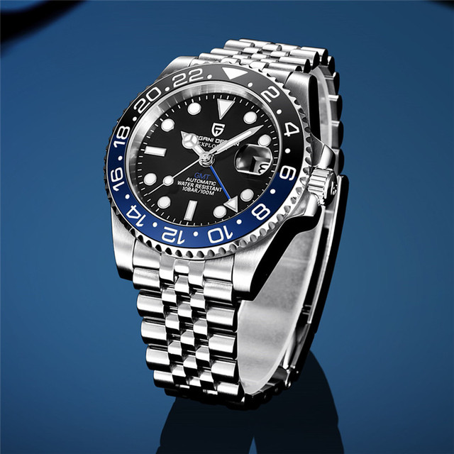 PAGANI DESIGN 40mm GMT Men's Mechanical Watches 100M Waterproof Top Brand Sapphire Glass Stainless Steel Business Men's Watch 6