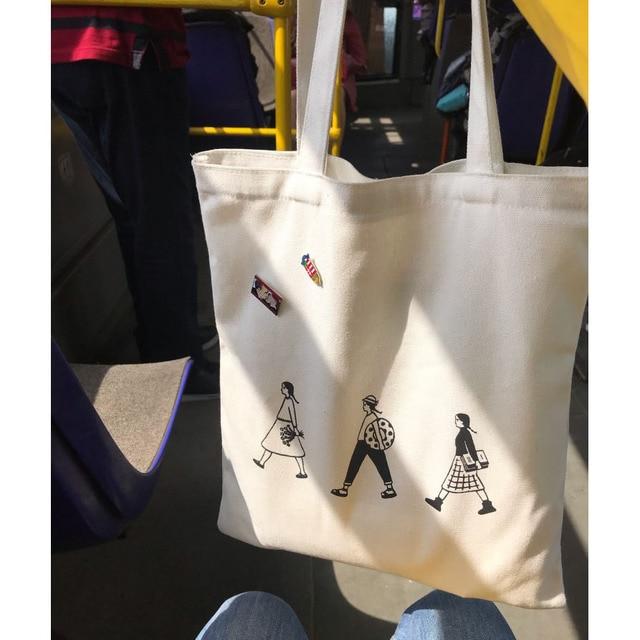 Ladies Handbags Canvas Tote Bag Cotton Cloth Shoulder Shopper Bags for Women 2020 Eco Foldable Reusable Shopping Bags Grocery 4