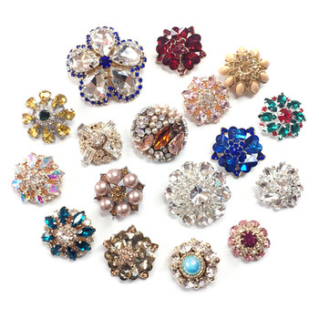 1pcs Korea Glitter Rhinestone Flower Buttons For Clothing Handwork Sewing Scrapbook Metal Shank Button Crafts Accessories Decor image