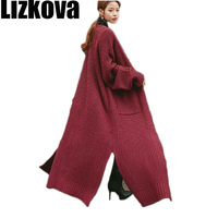 2019 Autumn Female Sweater Long Cardigan Lazy oaf Girls Maxi Wool Chunky Knitted Loose Coat