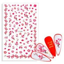 Adhesive-Stickers Flowers Sakura Decals Sliders Art-Decoration Blossoms Nail Cherry Pink