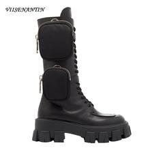 Vienantin/Новое поступление года; ботинки в байкерском стиле с карманами; красивая обувь в стиле милитари на толстой подошве со шнуровкой; Цвет Черный; полуботинки