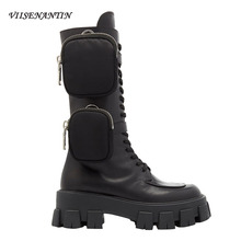 VIISENANTIN 2019 Latest Style New Arrival Pocket Motorcycle Boots Handsome Lace Up Thick-soled Black