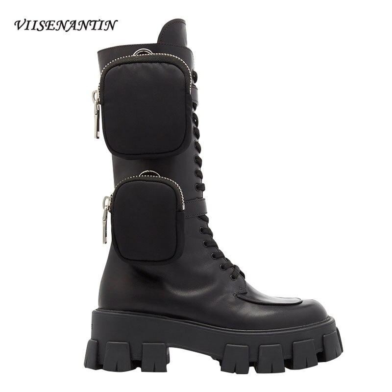 VIISENANTIN 2019 dernier Style nouveauté poche moto bottes beau à lacets à semelles épaisses noir chaussures militaires demi bottes