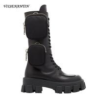 Vienantin/Новое поступление 2019 года; ботинки в байкерском стиле с карманами; красивая обувь в стиле милитари на толстой подошве со шнуровкой; Цве...