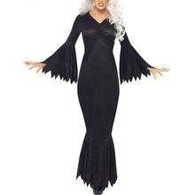 цены 2019 Halloween Cosplay Dress Women Vintage Party Dresses Fahion Sexy V Neck Long Sleeve Slim Pleated Mermaid Dress for Ladies 25