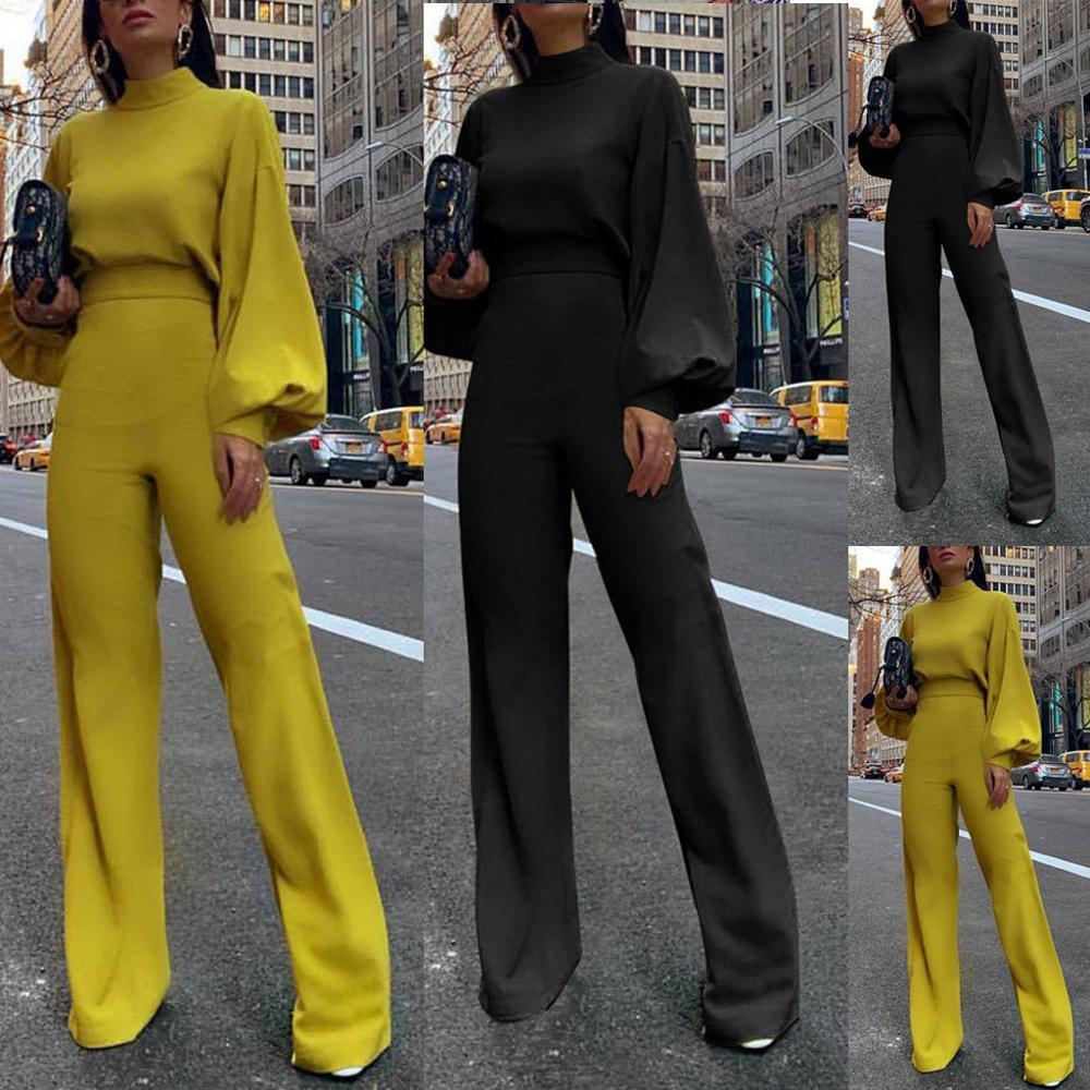 Женский Повседневный Комбинезон, элегантный облегающий желтый однотонный комбинезон с ложным вырезом и рукавами фонариками для офиса|Комбинезоны|   | АлиЭкспресс