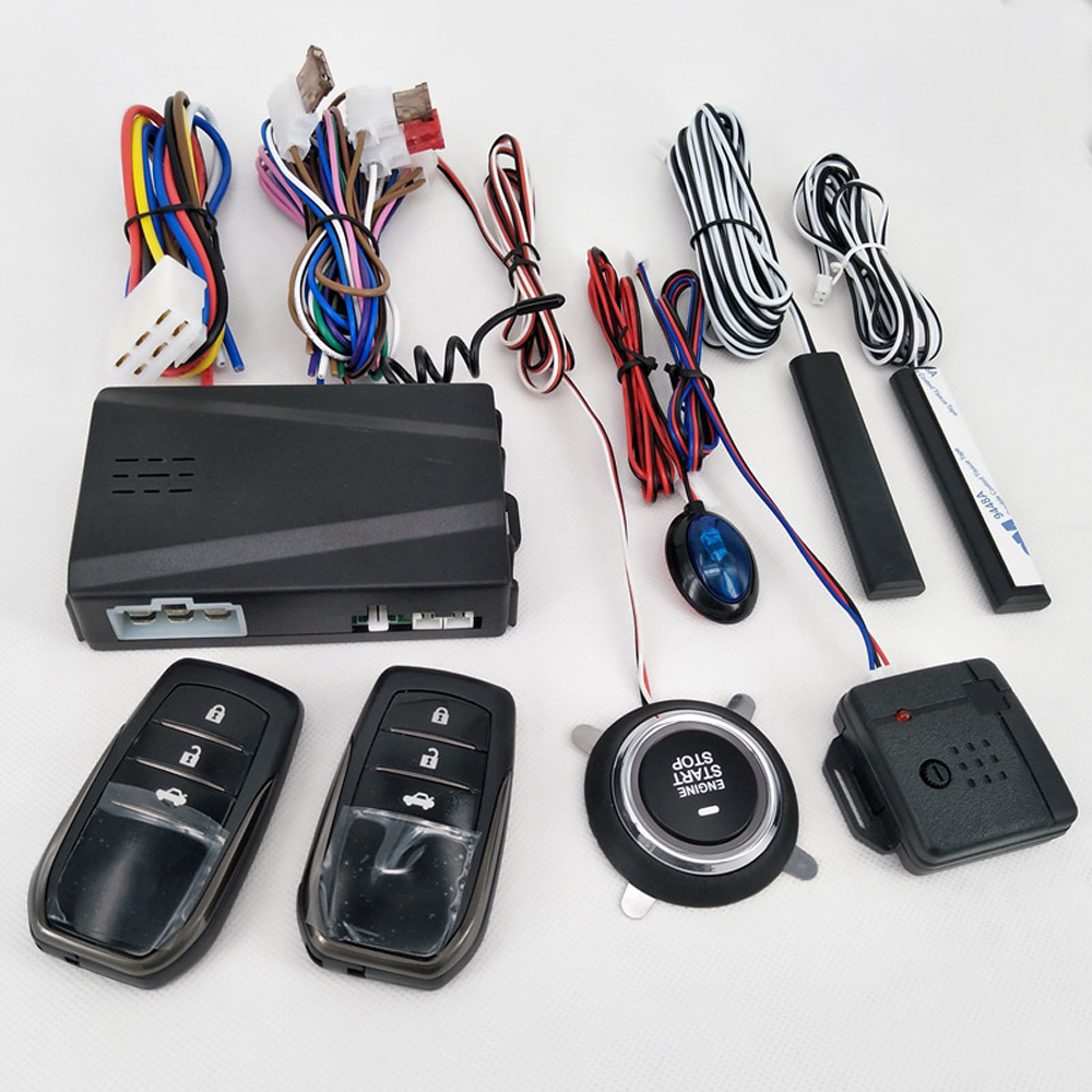 12v entrada keyless passiva do alarme de carro começo remoto/sistema de parada do motor de travamento central do motor de carro start stop botão automotivo pke