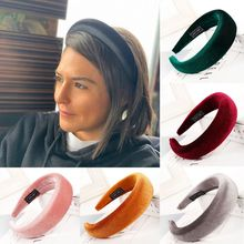 8 Colors Korean Lady Padded Wide Sponge Headband Glitter Velvet Twill Striped Hair Hoop Retro Party Solid Color Thick Headpiece