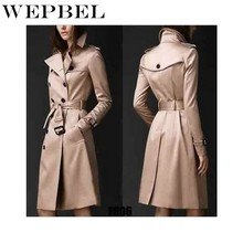 WEPBEL Women Winter Autumn Trench Long Fashion Casual Pockets Slim Double Button