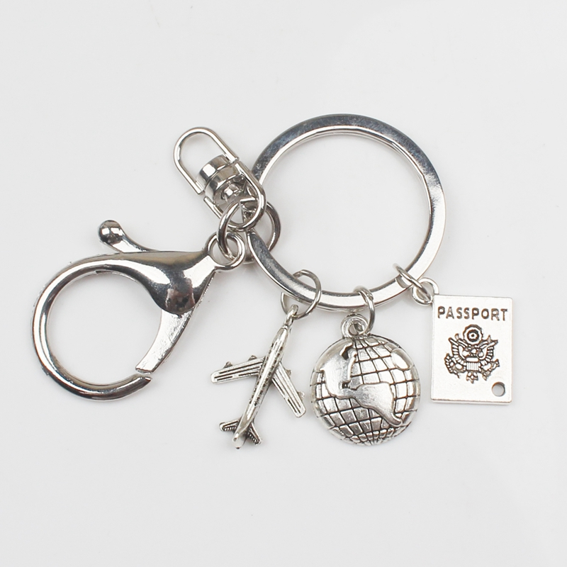 New Hot Sale Around The World Key Chain Aircraft Globe Key Chain Fashion Stewardess Gift