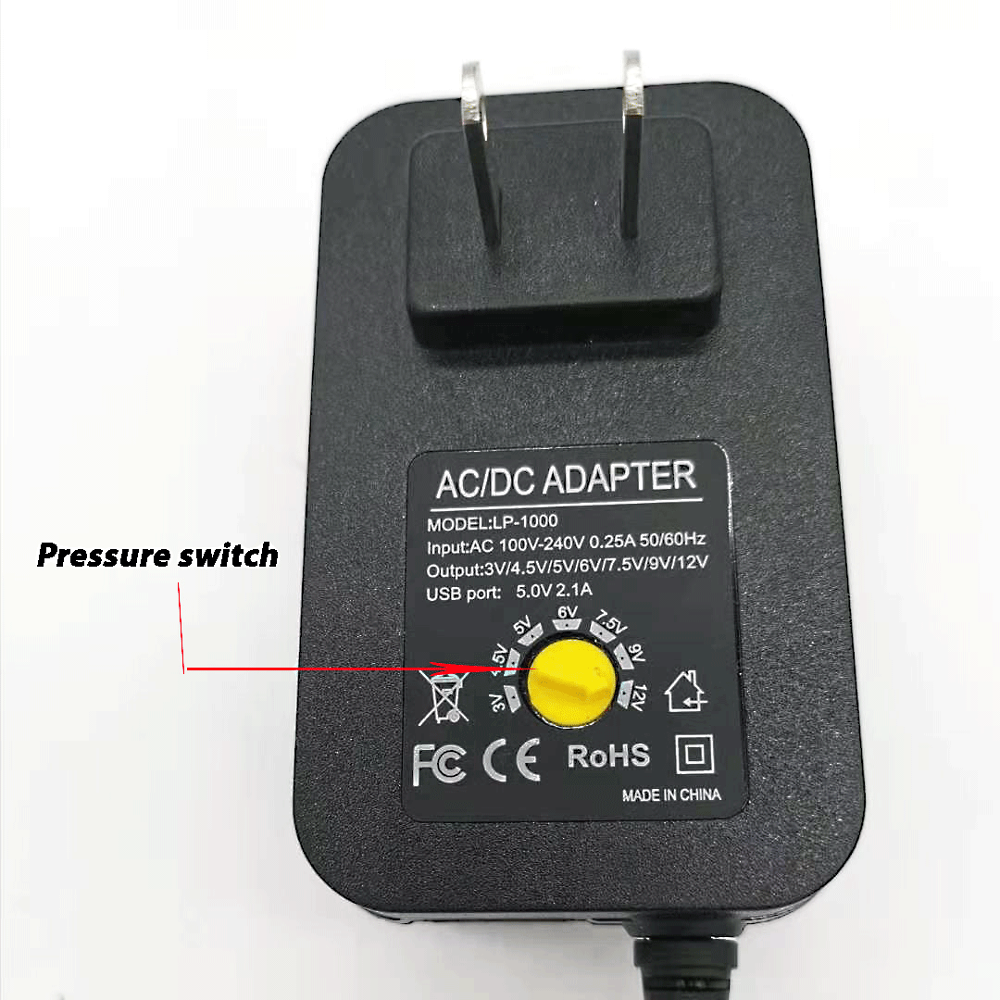 3V 4.5V 5V 6V 7.5V 9V 12V 2A 2.5A AC DC Adaptor Adjustable Power Adapter Universal Charger Supply for led light strip lam 3