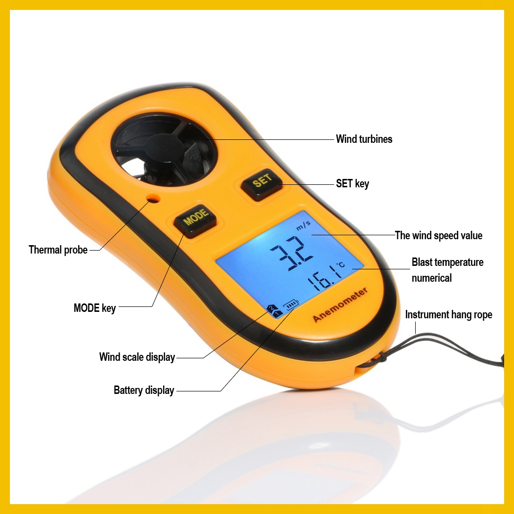 Portable RZ GM816 Wind Speed Meter Used as Anemometer with LCD Display Useful for Windsurfing 28