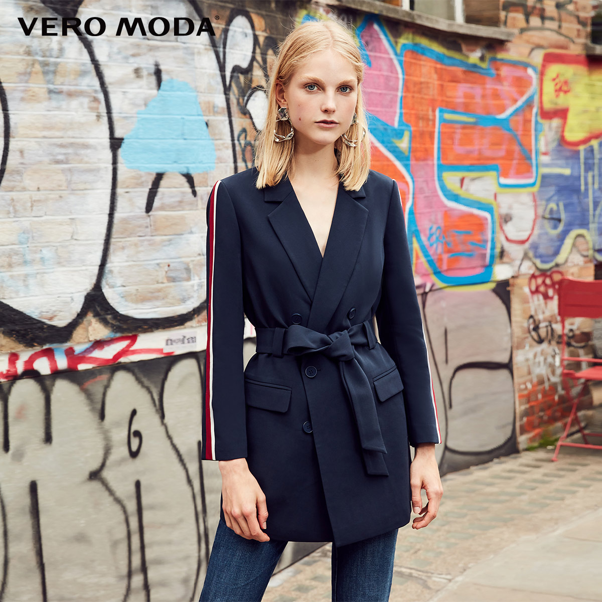 Vero Moda 2019 New Arrivals Striped Splice Decorative Waist Belt Blazer | 318308534