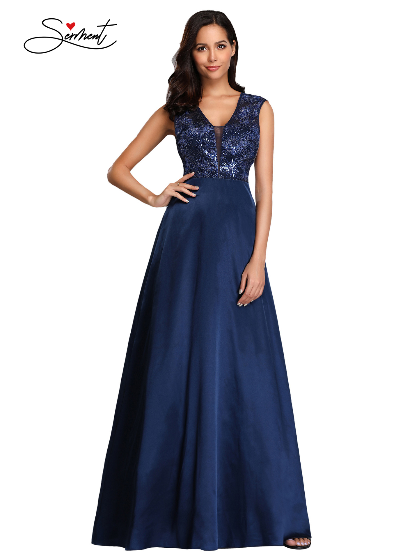 OLLYMURS New Elegant Woman Evening Gown V-neck Sequined Lace Elegant Dress Suitable for Formal Parties
